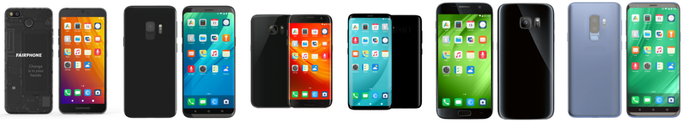 /e/OS phone range front and back